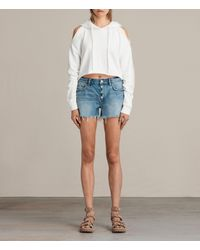 AllSaints | Blue Button Boy Shorts | Lyst