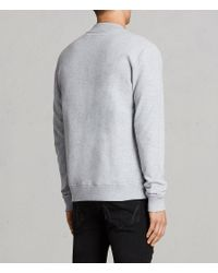 AllSaints - Gray Raven Sweat Bomber Jacket for Men - Lyst