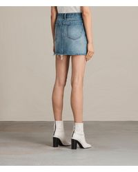 AllSaints - Blue Betty Denim Skirt - Lyst