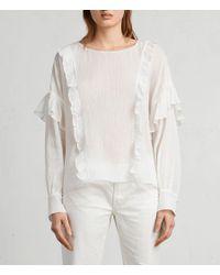 AllSaints - White Isa Top - Lyst