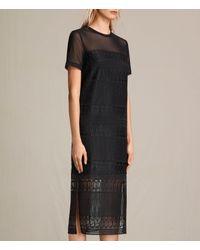 AllSaints Black Charlton Long Lace Dress