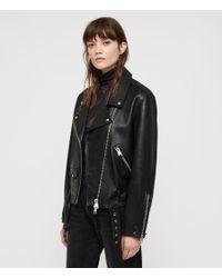AllSaints - Black Billie Leather Biker Jacket - Lyst