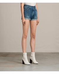 AllSaints - Blue Helena High Waist Denim Shorts - Lyst