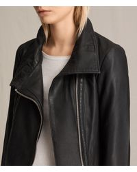 AllSaints - Black Bales Leather Biker Jacket - Lyst