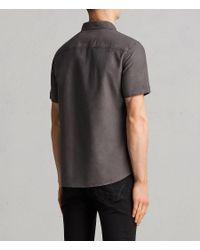AllSaints Gray Huntingdon Short Sleeve Shirt for men