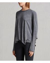 AllSaints - Gray Daisy Devo Top - Lyst