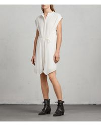 AllSaints White Meda Textured Shirt Dress