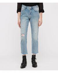 AllSaints Blue Ava Stud Straight Jeans