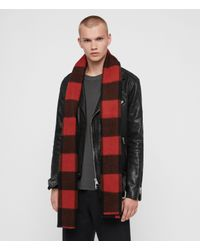AllSaints Red Buffalo Check Wool Woven Scarf for men