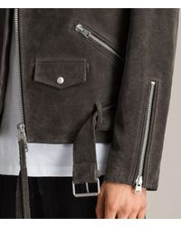 AllSaints Gray Hosoi Suede Biker Jacket for men