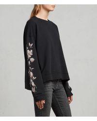 AllSaints - Black Magnolia Lo Sweatshirt - Lyst