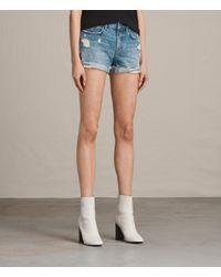 AllSaints - Blue Pam Denim Shorts - Lyst
