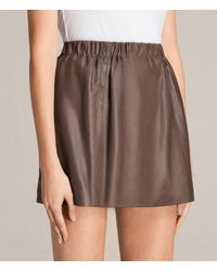 AllSaints - Brown Suko Leather Skirt - Lyst