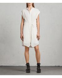 AllSaints - White Meda Textured Shirt Dress - Lyst