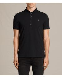 AllSaints - Black Saints Polo Shirt for Men - Lyst