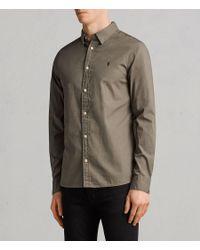 AllSaints - Green Redondo Long Sleeve Shirt for Men - Lyst