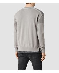 AllSaints | Gray Arden Zip Through Jumper for Men | Lyst