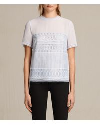 AllSaints | Gray Charlton Lace Top | Lyst