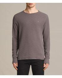 AllSaints | Gray Clash Long Sleeve Crew T-shirt for Men | Lyst