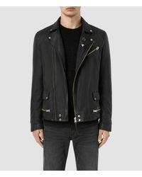AllSaints | Black Daxon Leather Biker Jacket for Men | Lyst