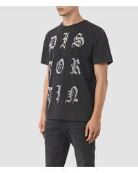 AllSaints Black Distortin Crew T-shirt for men