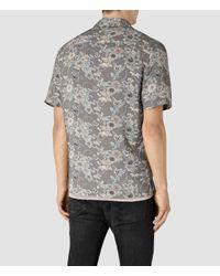 AllSaints - Black Hydrangea Short Sleeve Shirt for Men - Lyst