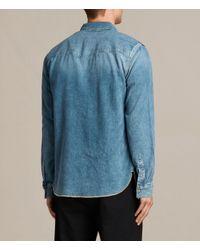AllSaints - Blue Ipsley Denim Shirt for Men - Lyst
