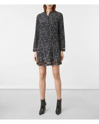 AllSaints Gray Lin Blume Silk Dress