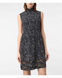 AllSaints Gray Lolita Blume Silk Dress