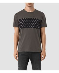 AllSaints | Gray Quill Twelve Crew Neck T-shirt for Men | Lyst