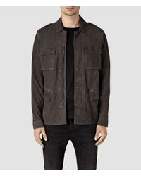 AllSaints Gray Rampart Suede Jacket for men