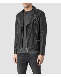 AllSaints - Black Conroy Leather Biker Jacket for Men - Lyst