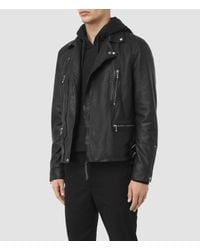 AllSaints Black Skept Leather Biker Jacket for men
