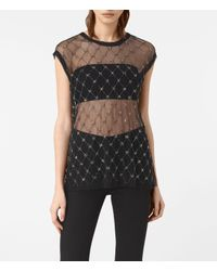 AllSaints | Black Wire Embellished Tee | Lyst