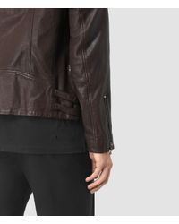 AllSaints Black Yuku Leather Biker Jacket for men