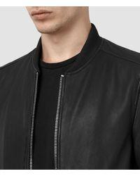 AllSaints Black Zeno Leather Bomber Jacket for men