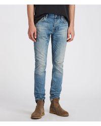 AllSaints Blue Inyo Rex Damaged Slim Jeans, Light Indigo for men