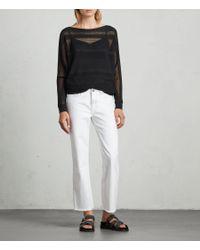 AllSaints Black Springs Slash Neck Sweater