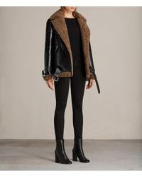 AllSaints - Black Hawley Oversized Shearling Biker Jacket - Lyst