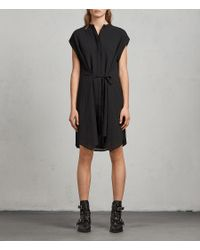 AllSaints - Black Meda Textured Shirt Dress - Lyst