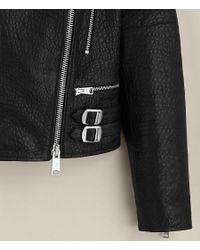 AllSaints - Black Silsden Leather Biker Jacket - Lyst