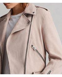 AllSaints - Pink Balfern Suede Biker Jacket - Lyst