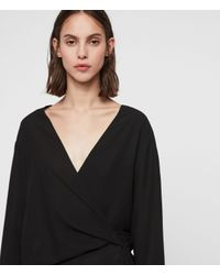 AllSaints Black Mia Sleeve Top