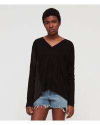 AllSaints - Black Alda Panel V-neck Sweater - Lyst