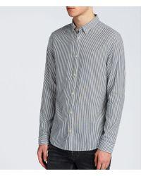 AllSaints - Blue Elderwood Shirt for Men - Lyst