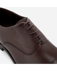 BOSS Brown High Line Leather Toe Cap Oxford Shoes for men