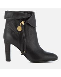 See By Chloé Black Leather Fold Over Heeled Ankle Boots