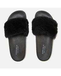 Carvela Kurt Geiger Black Koat Fur Slide Sandals