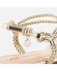 Armani Exchange Metallic Rope T-bar Sandals