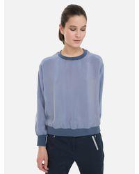 ALPHATAURI Blue Cupro Bluse mit elastischem Bund
